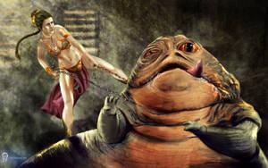 Leia vs. Jabba by Obiwan00