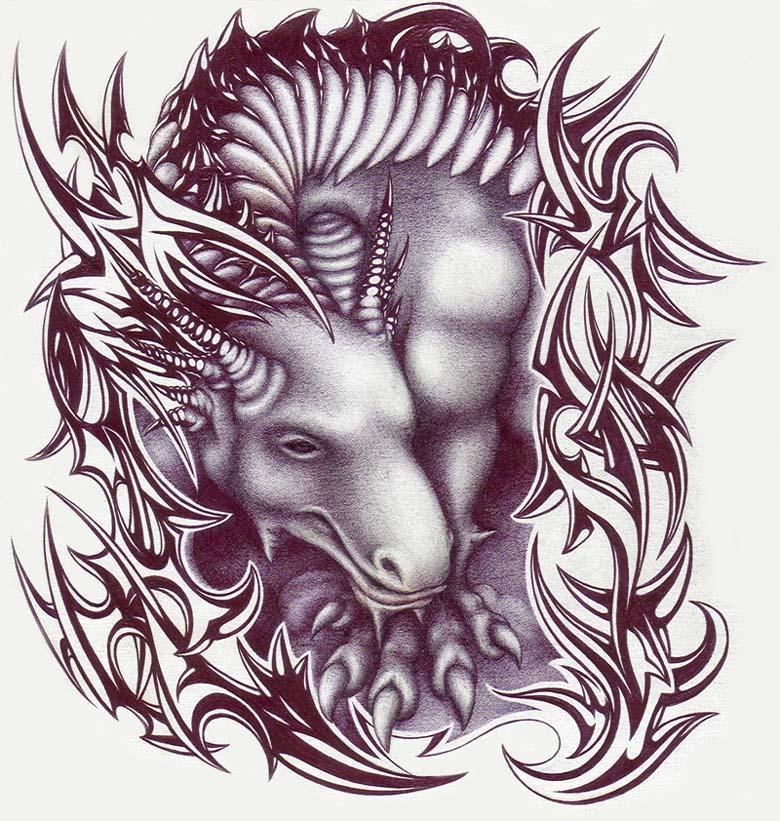 tribal dragon tattoo flash. Dragon Tattoo Tribal Set