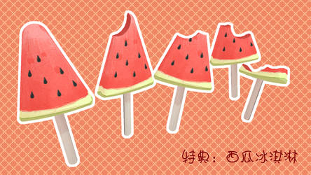 [MMD Foods DL]Watermelon Ice Cream[Huaan]