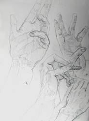 Hands study sketch draw by SatenkoDmitry