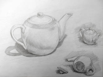 Porcelain teapot study sketch by SatenkoDmitry