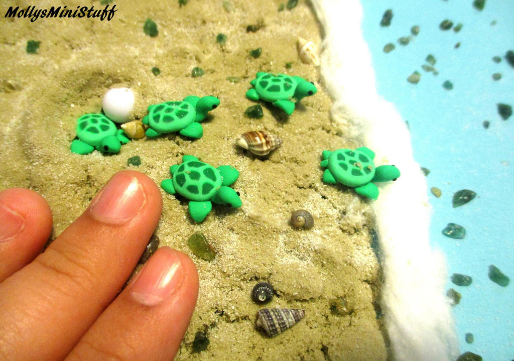 Miniature Polymer Clay Sea Turtle (Tutorial Video) by MollysMiniStuffVPG