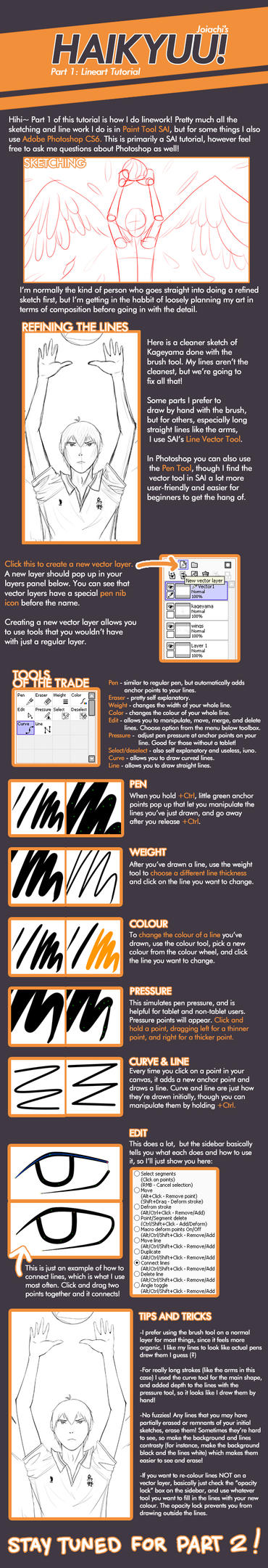 Haikyuu! Lineart Tutorial by joiachi