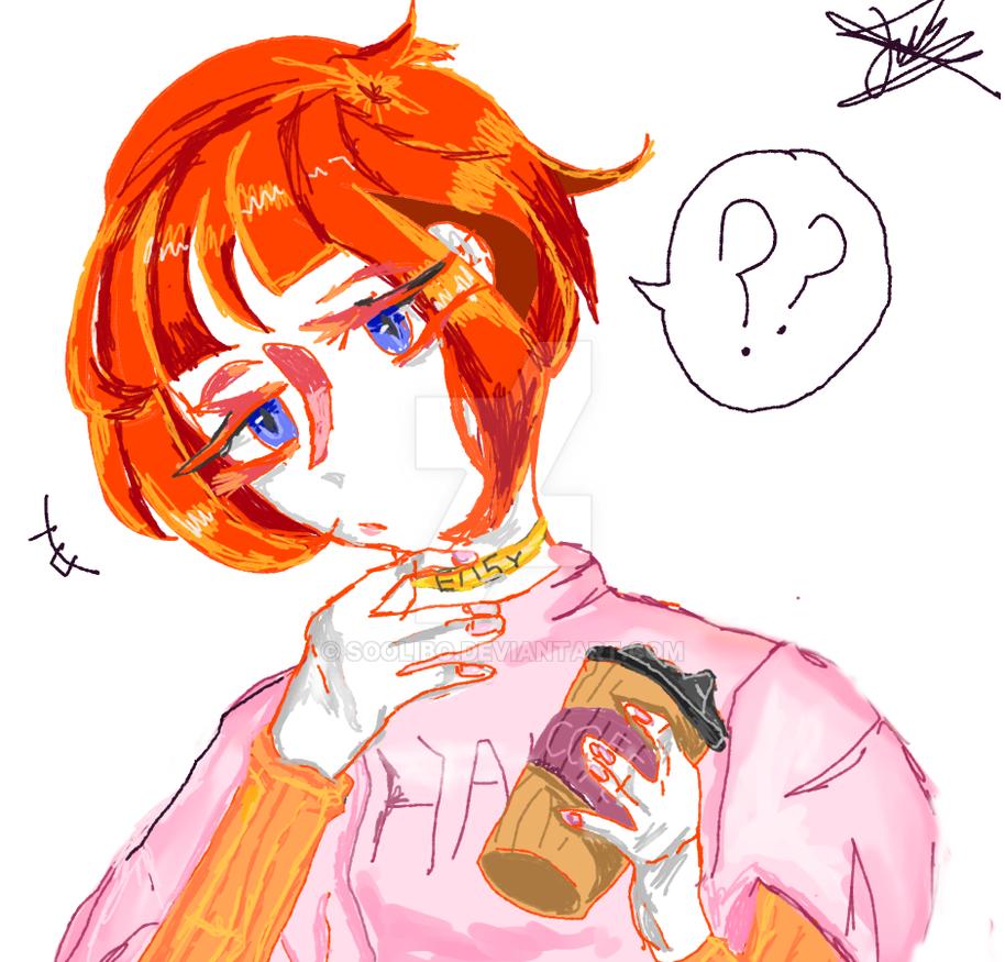 Orange girl with coffee. by SooliBo