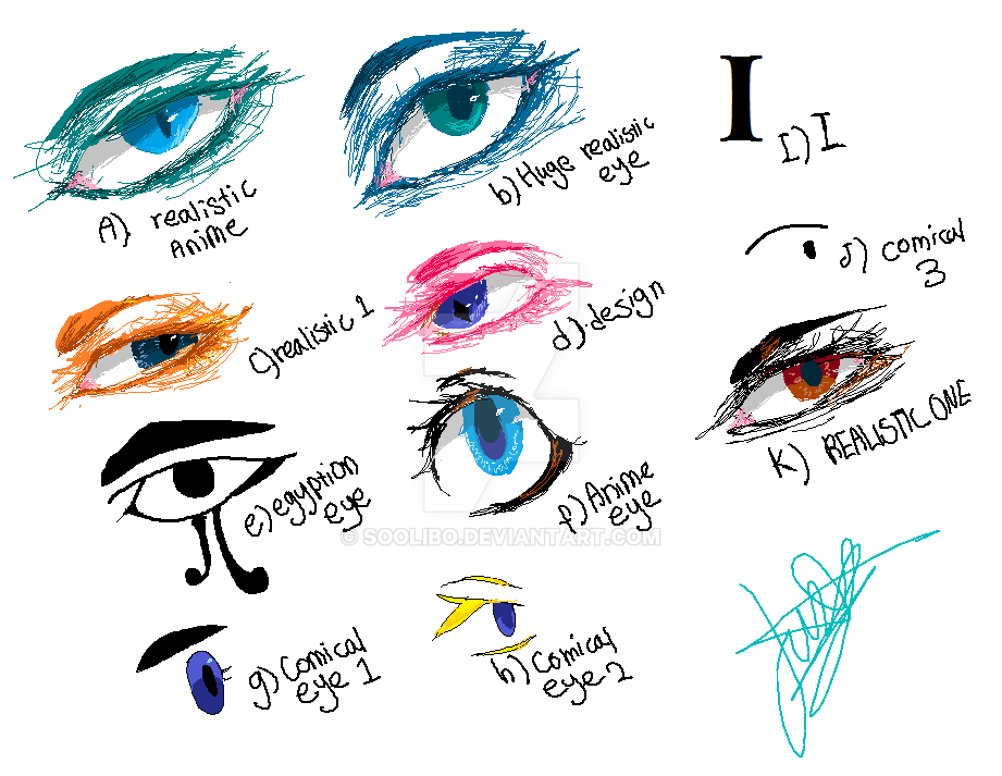 All of the eye styles that i know. - by soolibo by SooliBo