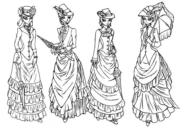 Line Drawing Lady : Victorian outing line art by lady of crow on deviantart
