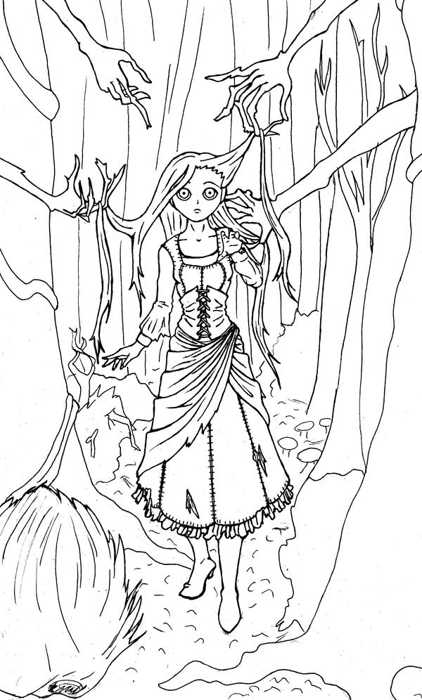 Line Art Forest : Enchanted forest line art by lady of crow on deviantart