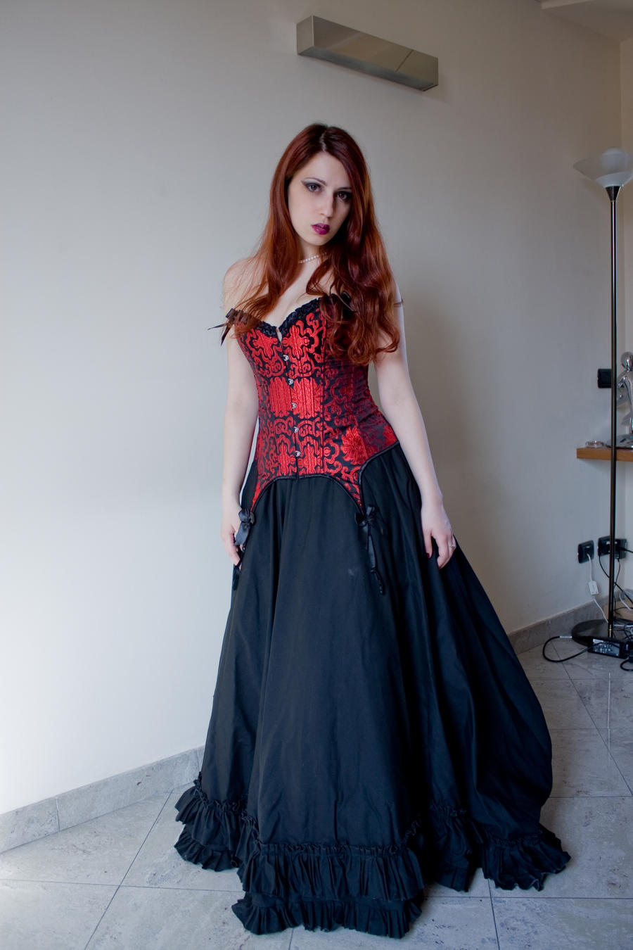 Gothic girl red corset by RahLuna