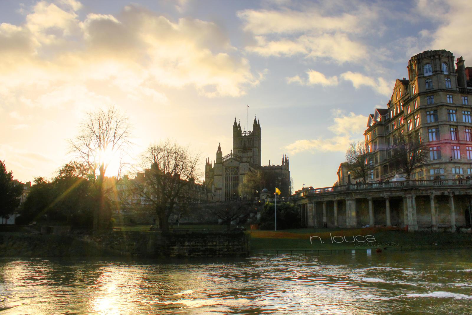 Sun Bath - Bath Abbey / River Avon, Bath, UK by DemonOfRazgriz323