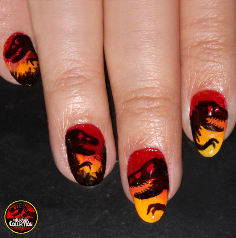 Jurassic Park Nails Art by Grincha