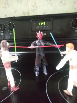 Obi-Wan and Qui-Gon vs Maul.