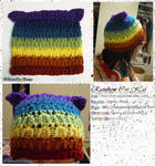 Rainbow Striped Kitty Cat Hat