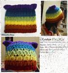 Rainbow Striped Kitty Cat Hat