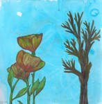 Flowers and Tree over ink