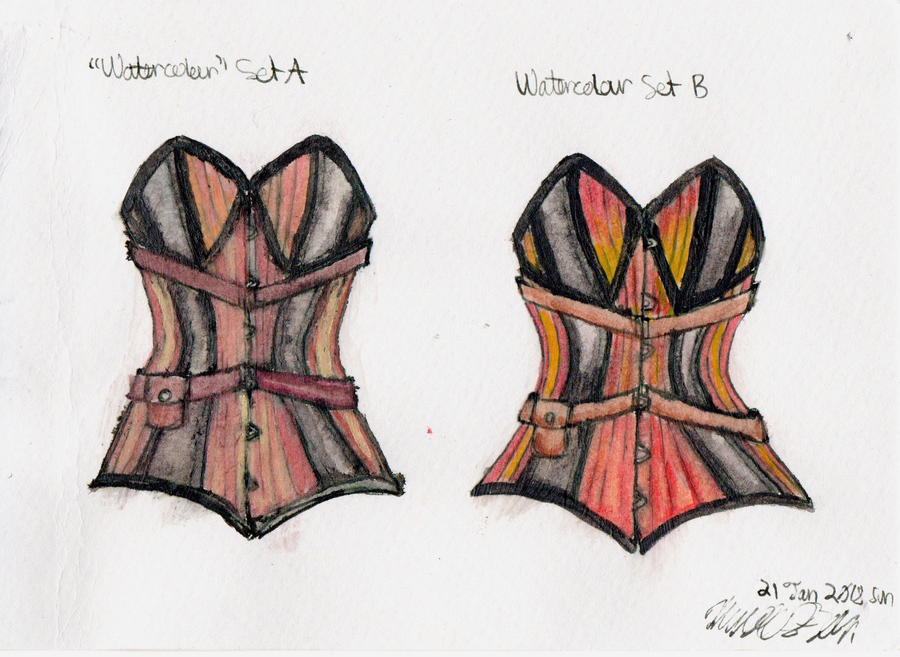 Corset study - Watercolour Comparison