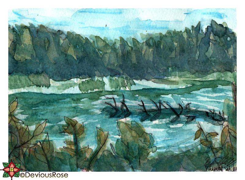 Great Bay Wildlife Refuge World Watercolor Month 7 by NekoMarik