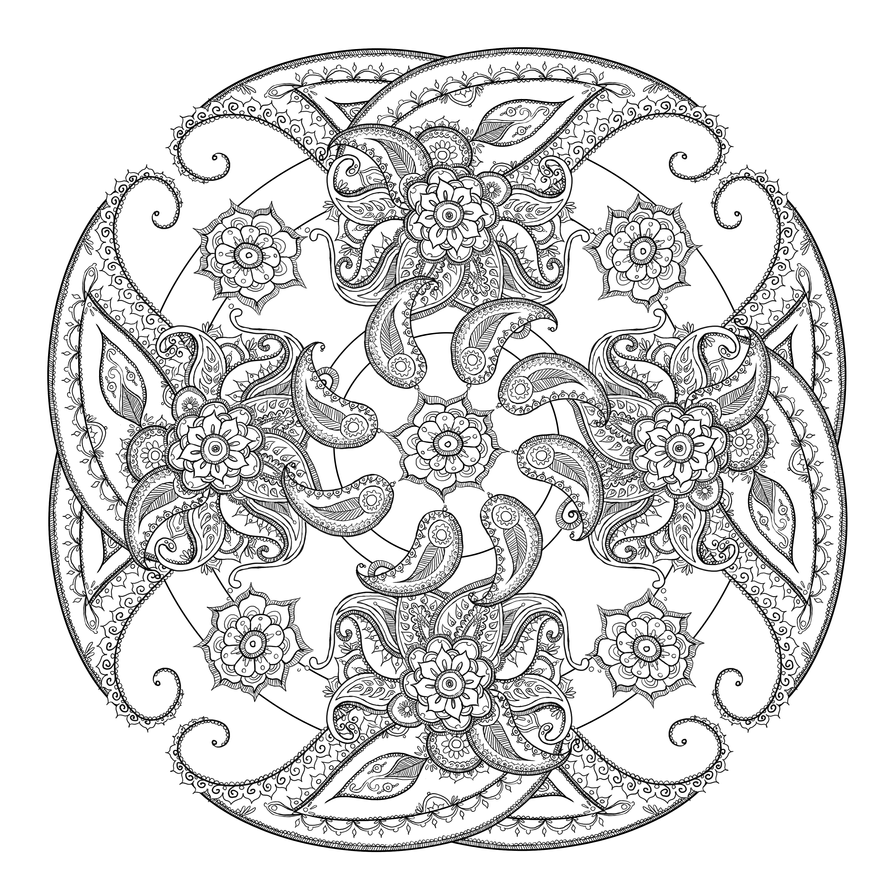 paisley print coloring pages - paisley circle by catzilladk on deviantart