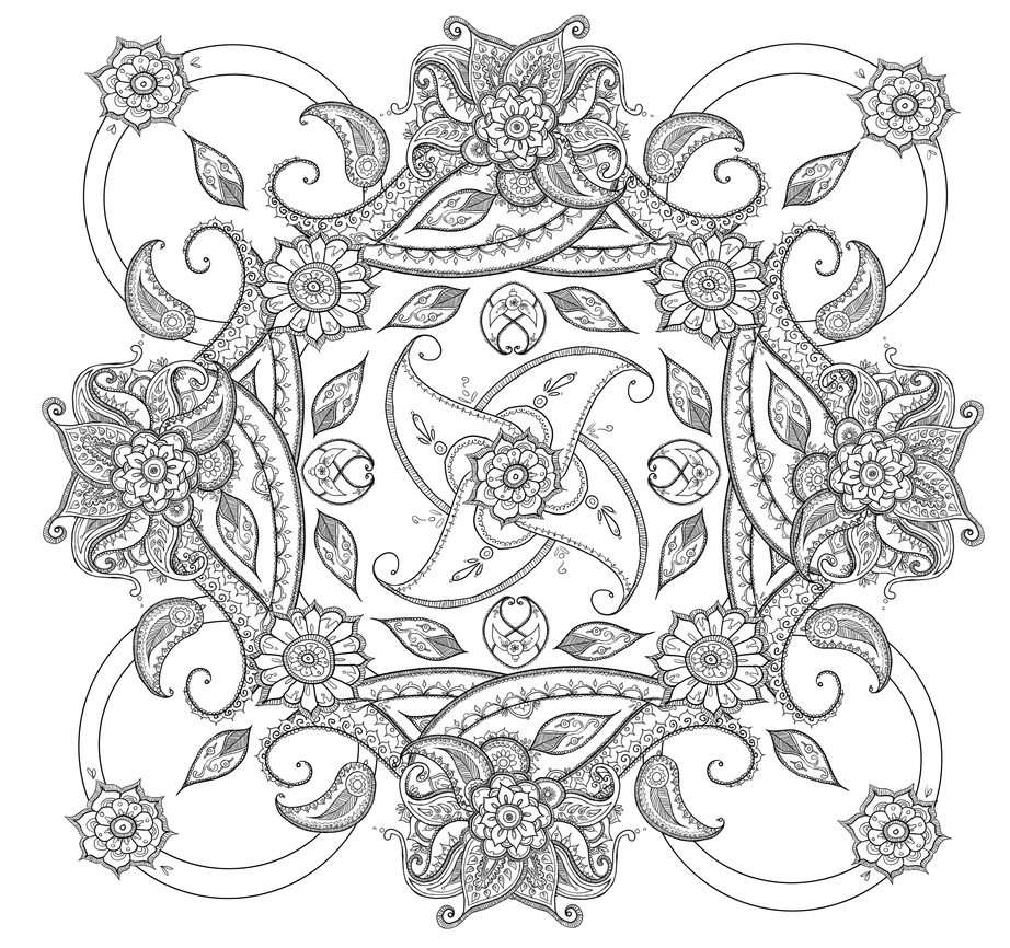 square mandala coloring pages - photo#22