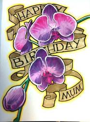 birthday card: orchid scroll