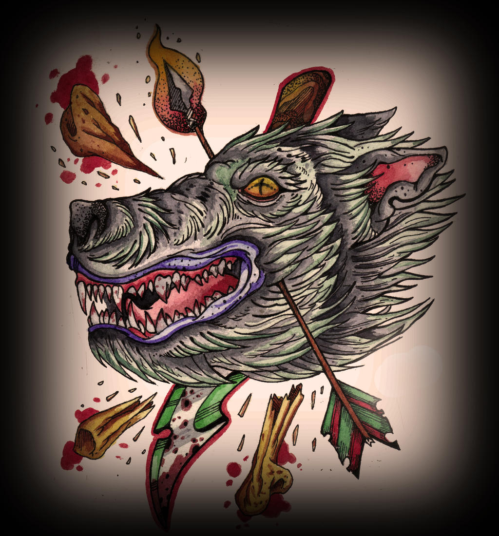 Neotraditional wolf 2 by kurotrash on deviantart for Wolf tattoo traditional