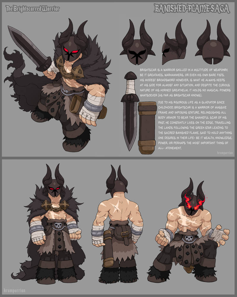 The Brightscarred Warrior - Reference Sheet by KrumpZero