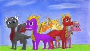 Spyro, Cynder, Flame, Ember redesigns