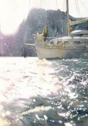 Boat in a bay by GreeGW