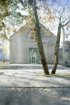 Modern catholic chapel in Warsaw