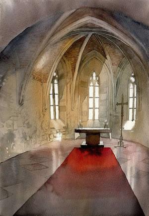 Ghotic interior in watercolor - video tutorial by GreeGW