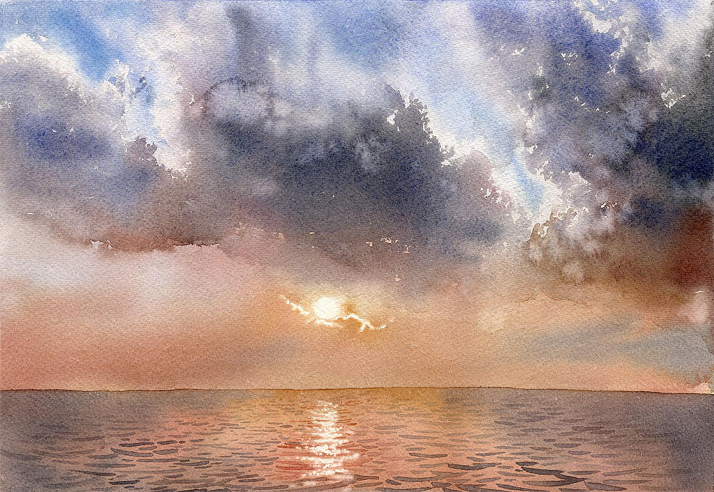 Sunset sky tutorial by GreeGW