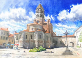 Brioude Basilique St. Julien external view by GreeGW