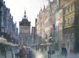Dawn at Dluga street Gdansk