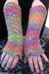 Rainbow Cabled Knittersmitters by DaturaDesign