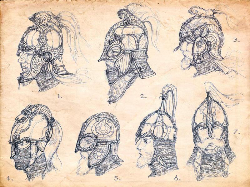 Rohan helmet sketches by Merlkir