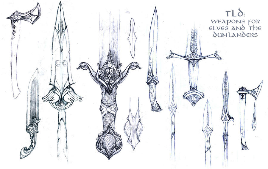 how to draw cool fantasy weapons