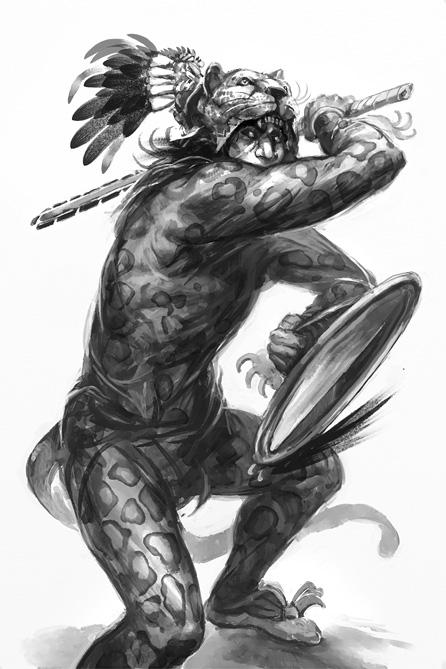 Mayan Warrior Painted Black