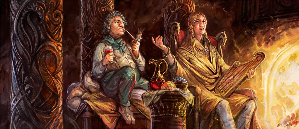 Bilbo and Lindir by Merlkir