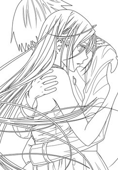 Moka and Tsukune Line-art.