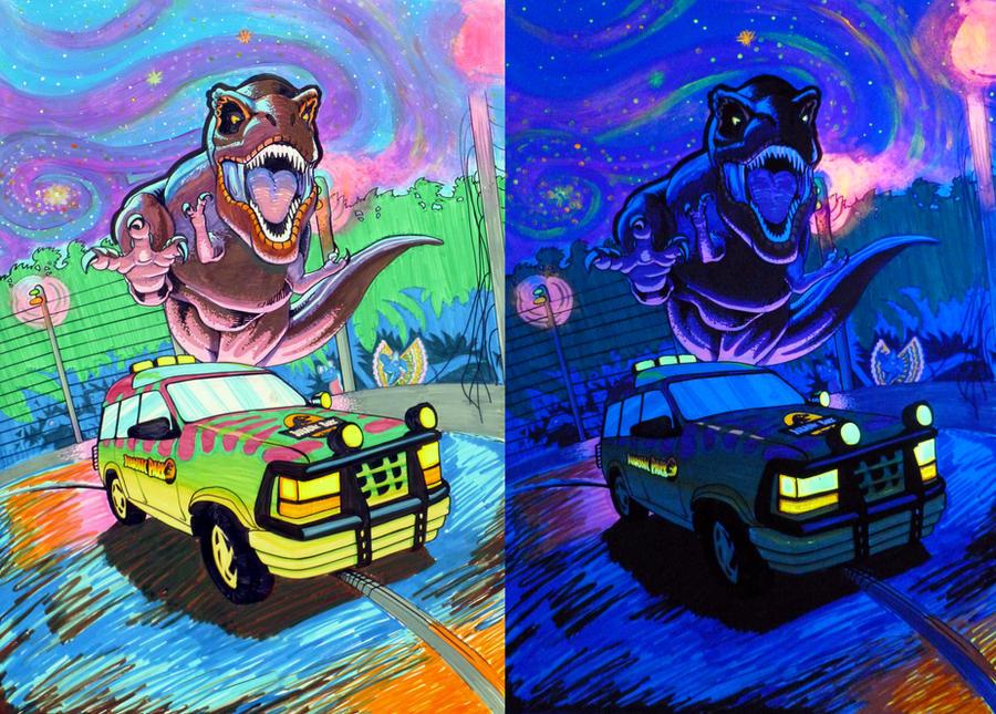 Jurassic Park Blacklight Poster By Spohniscool
