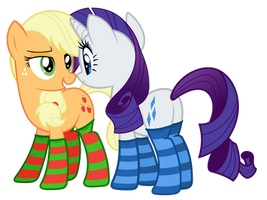 Applejack and Rarity w/o background by alexiy777