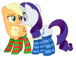 Applejack and Rarity w/o background