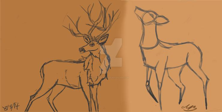 Deer Poses sketches by valued-vestige