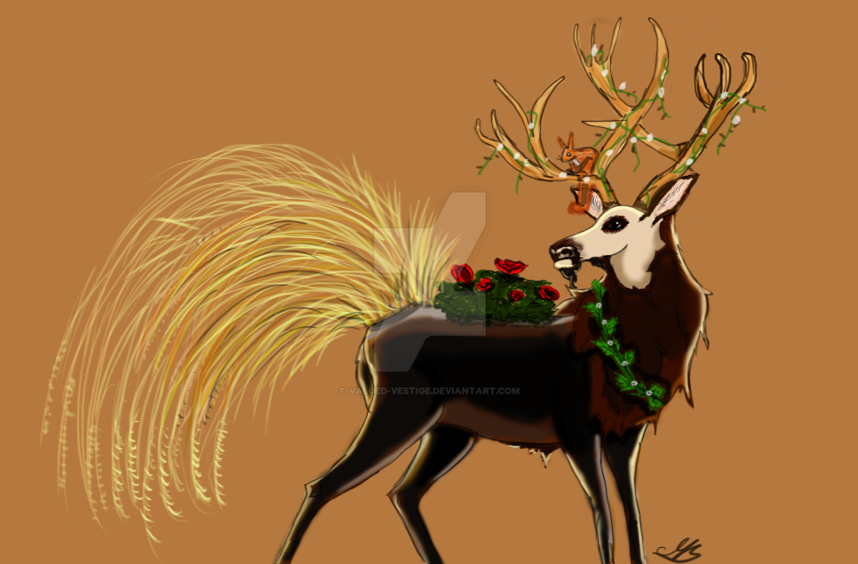 Verdant Deer Gift. Thorny Roses by valued-vestige