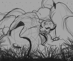 Day 13: Simba Mufasa sketch by valued-vestige