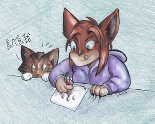 Shut up I'm skribbling by Faelis-Skribblekitty