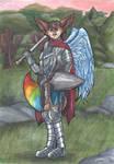 A knight fox so colourful by Faelis-Skribblekitty