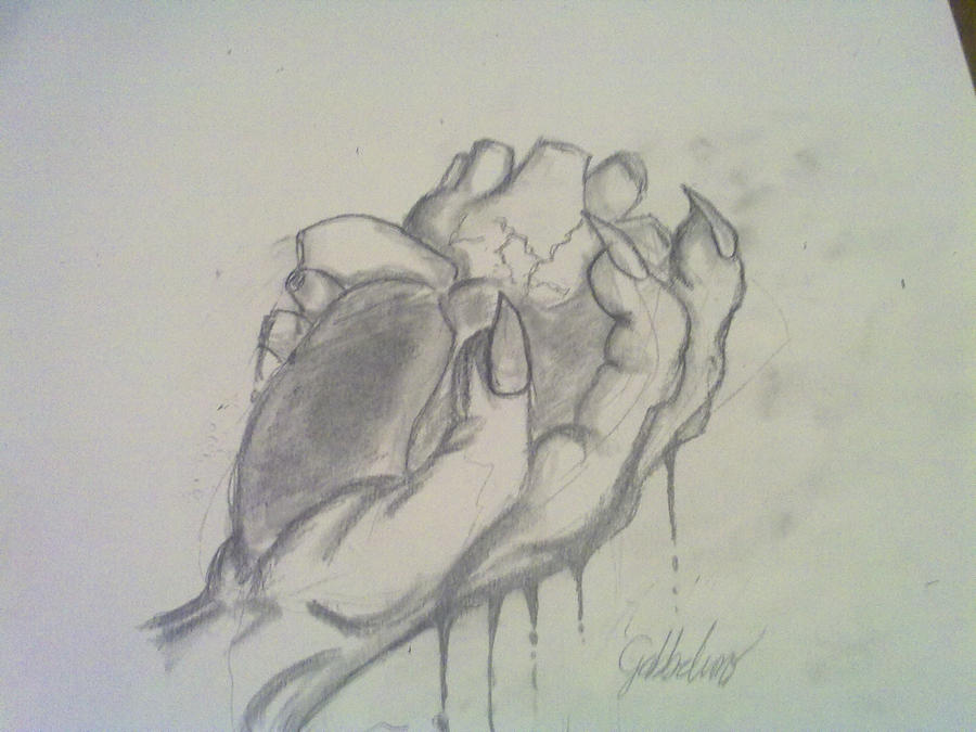 A hand holding a human heart by Gabbelino on DeviantArt