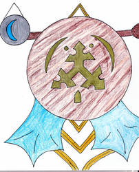 Spearhead of Canas banner /Blue Crescent Moon disc