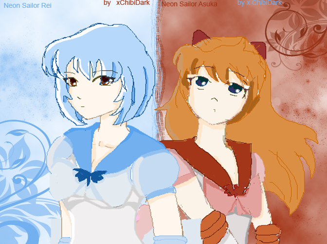 Neon Sailor Rei and Asuka by xChibiDark