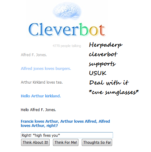 Cleverbot supports USUk whut by AskRomanoNVeneziano